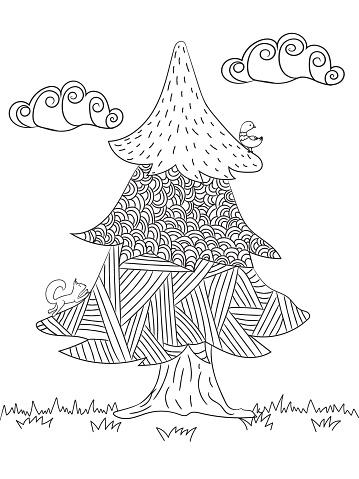 Boyama Resimleri Ladin Orman Hayvanlari Ve Bulutlar Stok Vektor