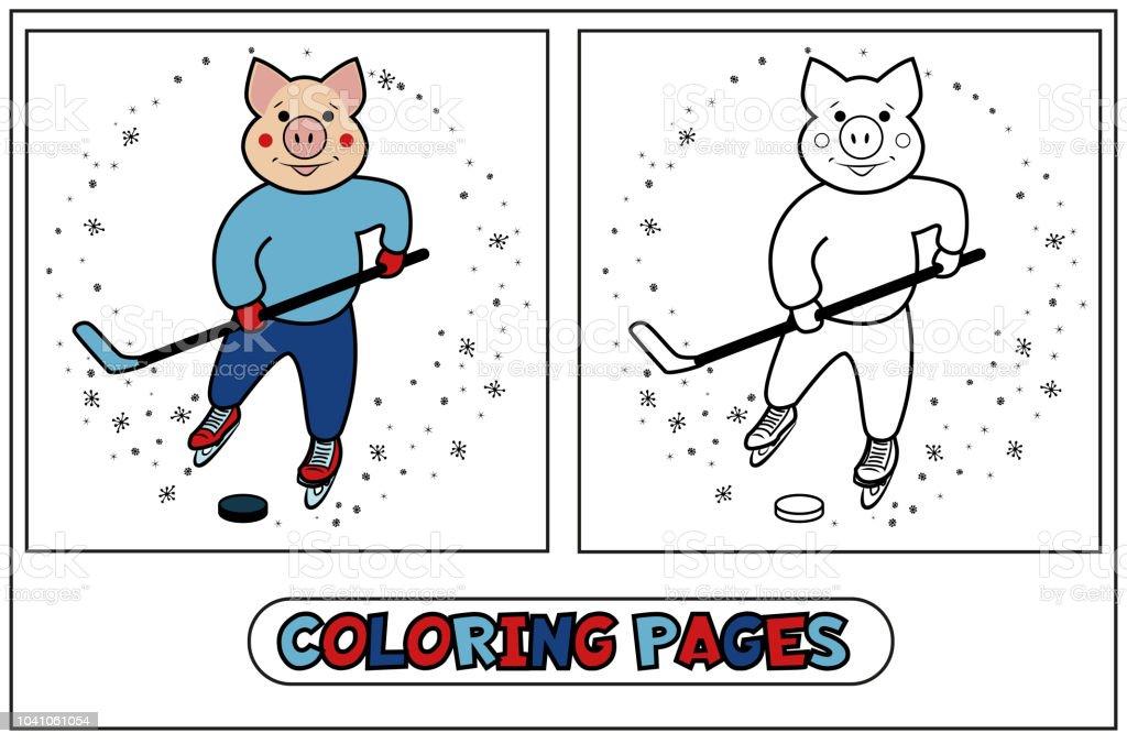 Ilustración de Cerdito Para Colorear Jugador Del Hockey Sobre y más ...