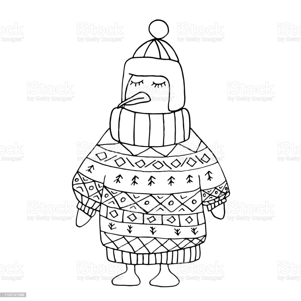 Ilustración De Colorear Pinguin Sin Color En Invierno