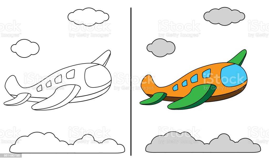 Flugzeug Malvorlagen Stock Vektor Art Und Mehr Bilder Von Ausmalen