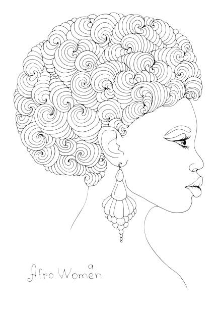 Coloring profile portrait of a young African girl with magnificent curly afro hairstyle vector art illustration