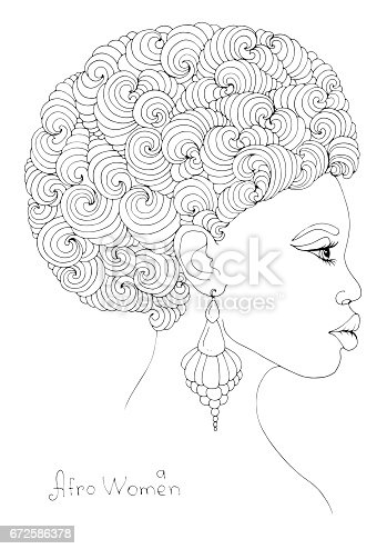 Coloring Profile Portrait Of A Young African Girl With