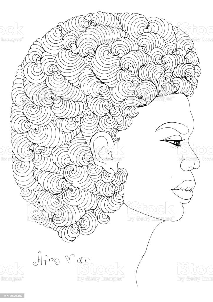 Coloring profile portrait of a young African man with magnificent curly afro hairstyle vector art illustration