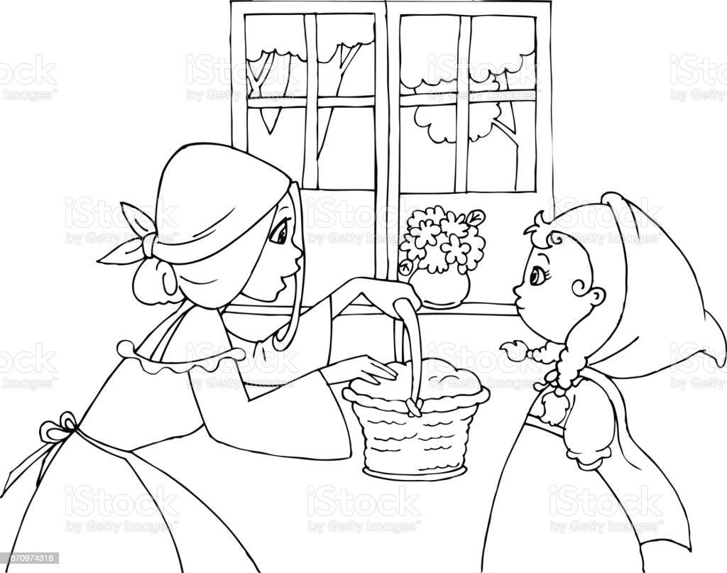 Ilustración De Colorear Caperucita Roja Y Mamá El Vector Y