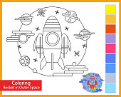 Coloring rocket in outer space. Children's arts game. Spaceship entertainment for children. Drawing contour for coloring. Space galaxy. Vector illustration.