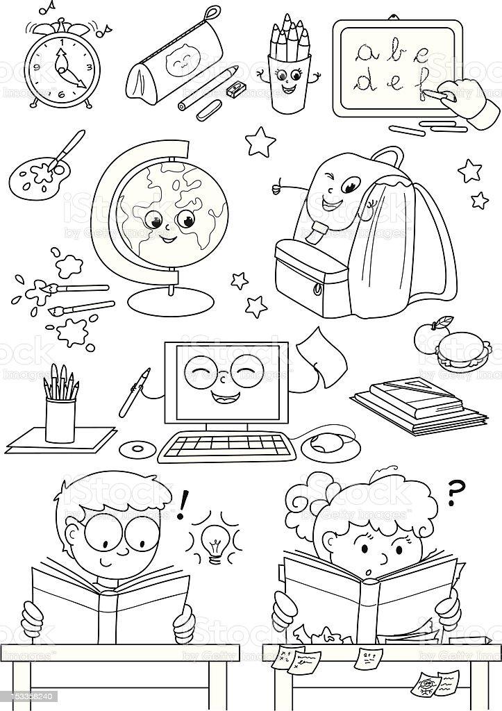 Ilustración de Colorear La Escuela Elementos Para Niños Kids y más ...