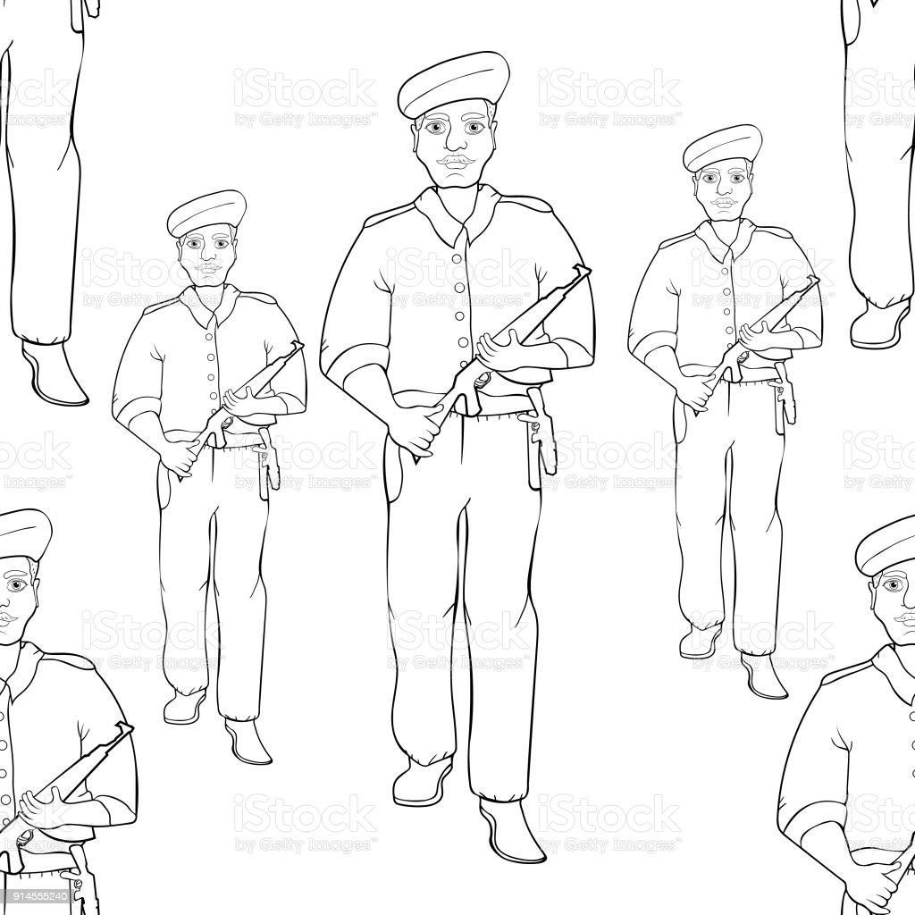 coloring seamless pattern indian policeman with a gun
