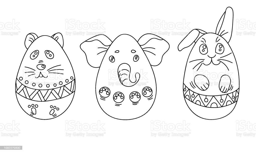 Ilustración de Juego Para Colorear Con Huevos De Pascua En Forma De ...