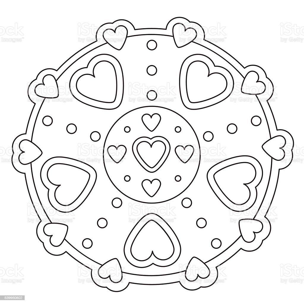 Coloring Simple Heart Mandala Immagini Vettoriali Stock E Altre