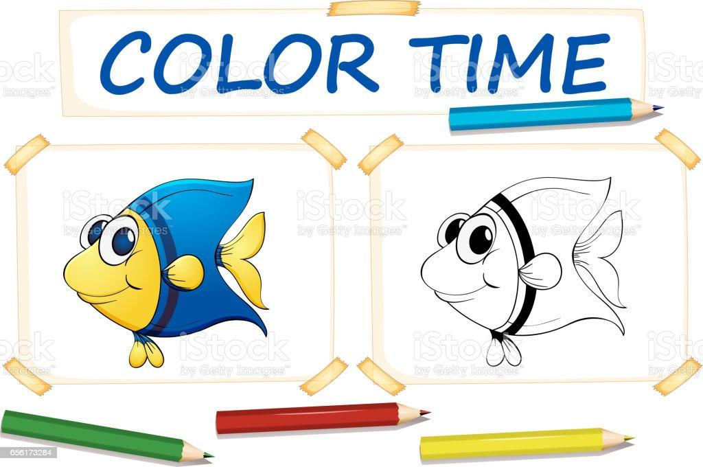 Ilustración de Plantilla Para Colorear Pescado Lindo y más banco de ...