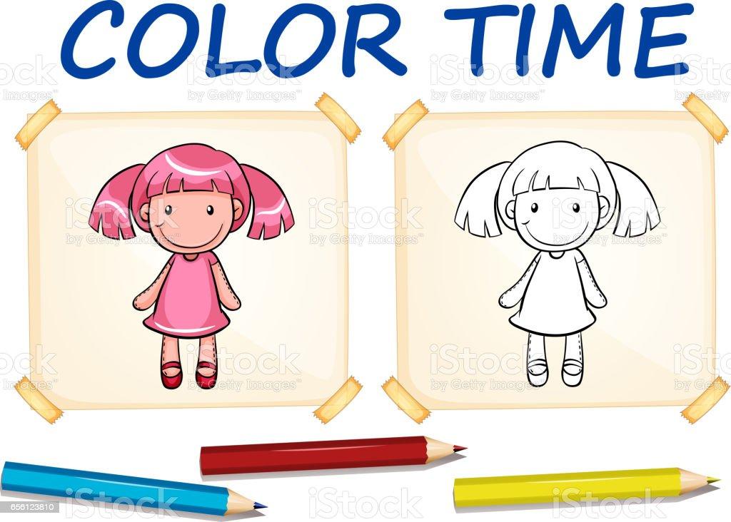 Ilustración de Plantillas Para Colorear Con Linda Muñeca y más banco ...