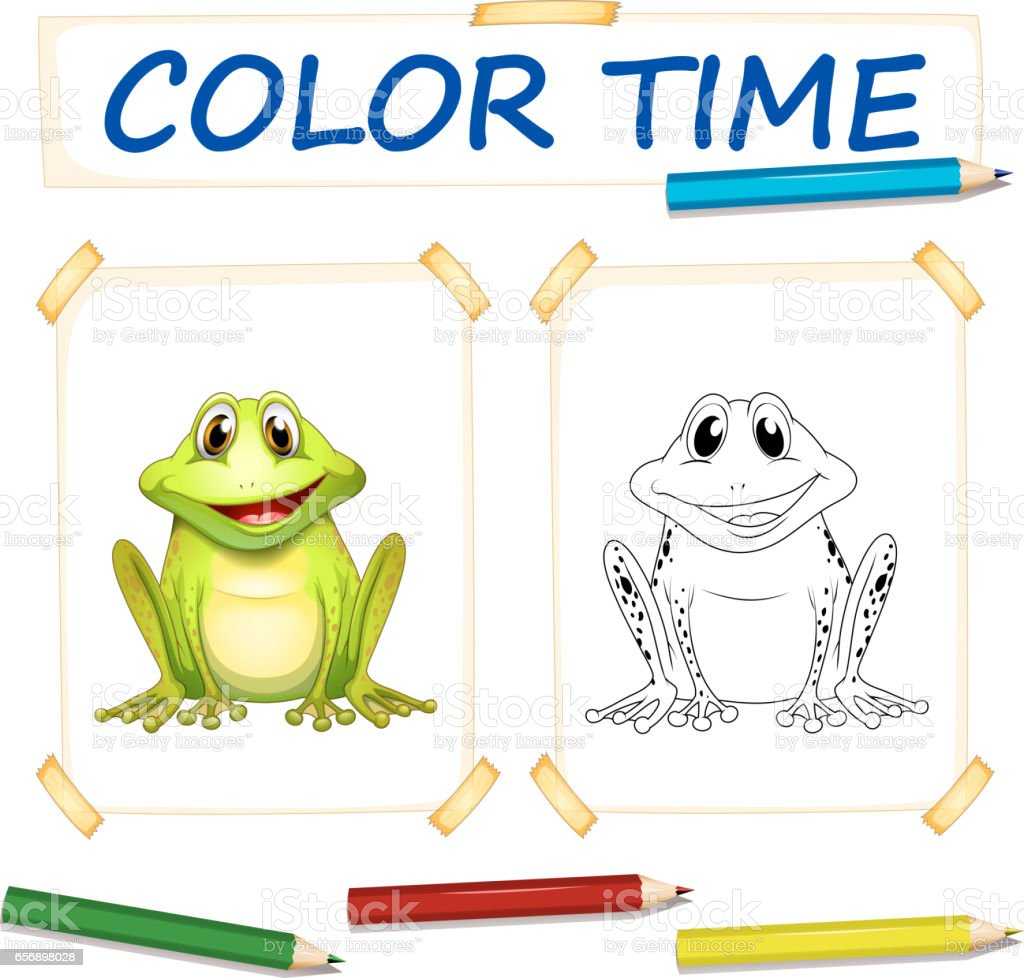 Färbungvorlage Mit Niedlichen Frosch Stock Vektor Art und mehr ...