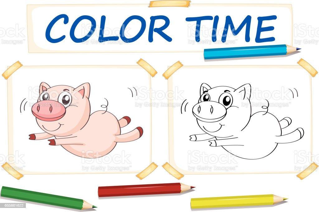 Ilustración de Plantillas Para Colorear Con Cerdo Lindo y más banco ...