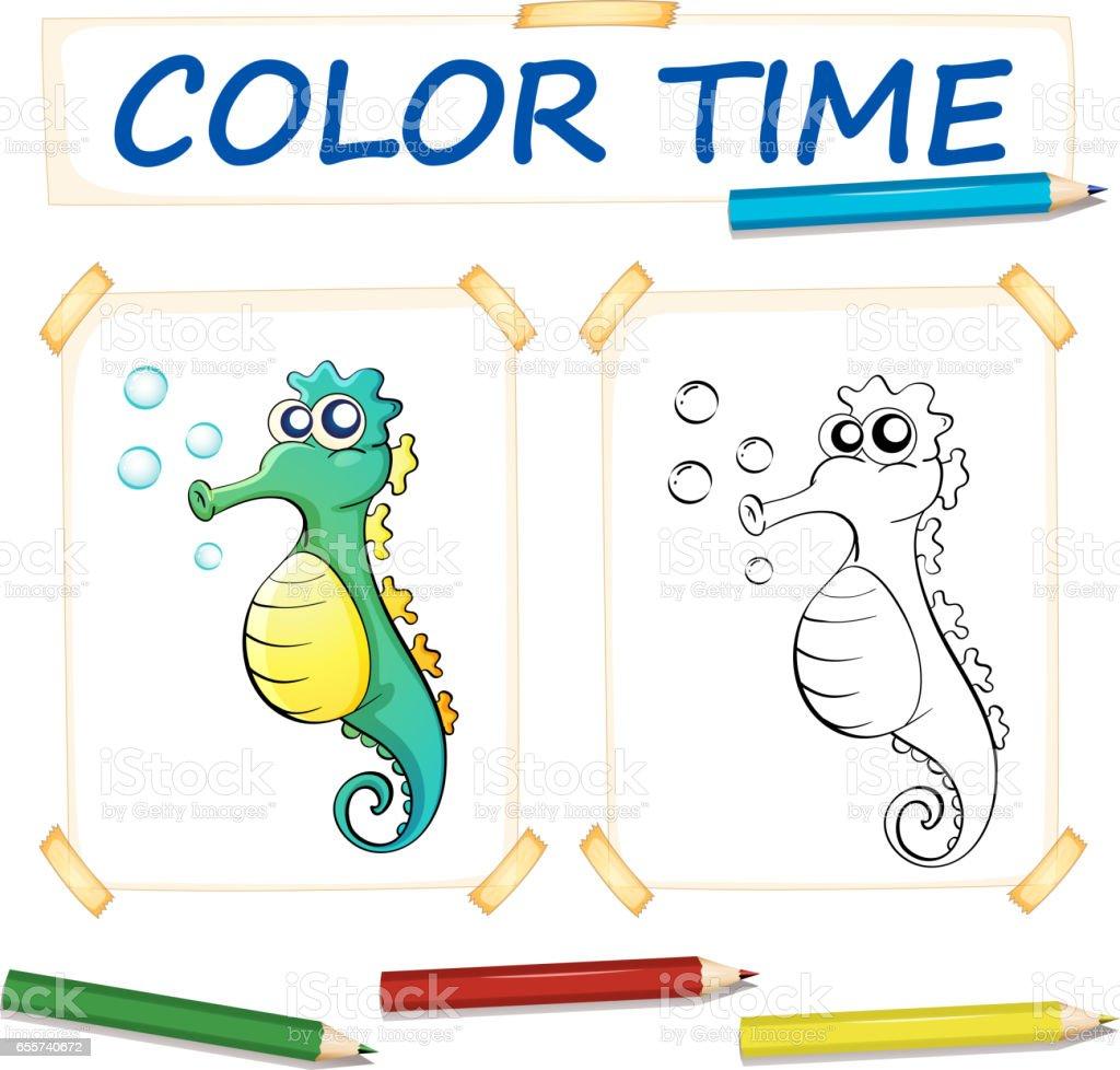 Färbungvorlage Mit Niedlichen Seepferdchen Stock Vektor Art und mehr ...