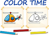 Coloring template with helicopter illustration