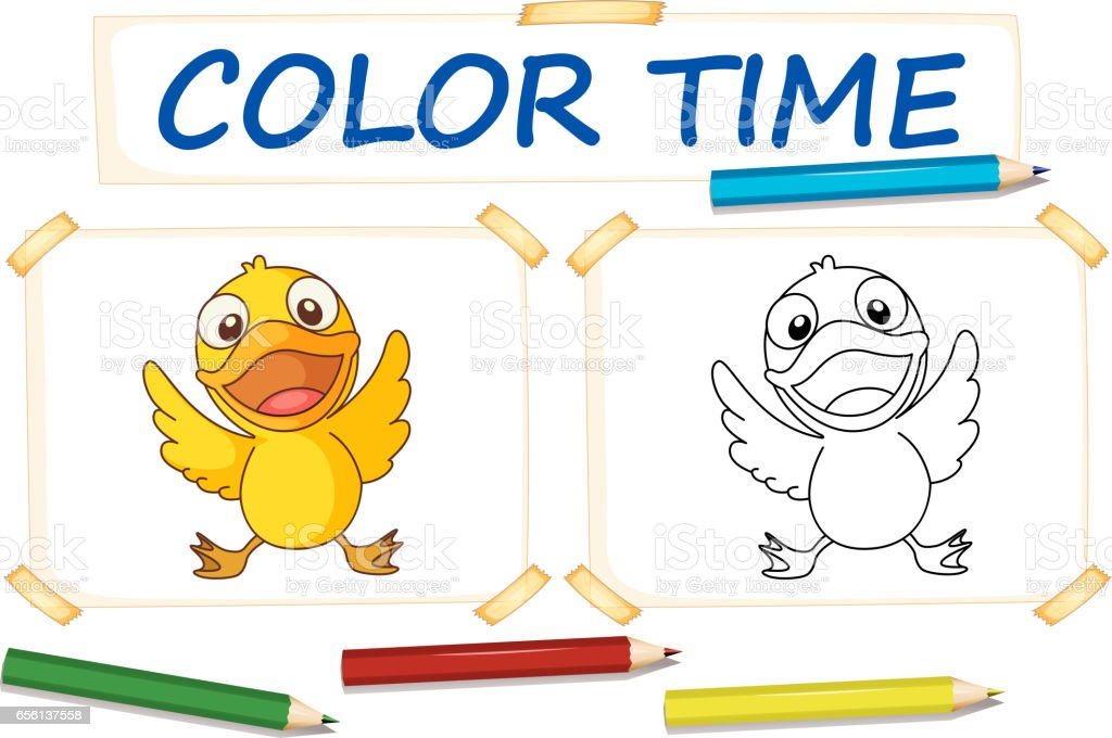 Färbungvorlage Mit Kleine Ente Stock Vektor Art Und Mehr