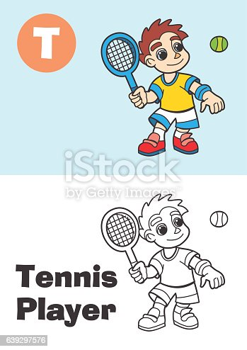 coloring tennis player for children - proffesion illustration for kids