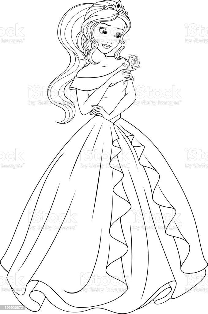 Güzel Prenses Boyama Stok Vektör Sanatı Animasyon Karakternin