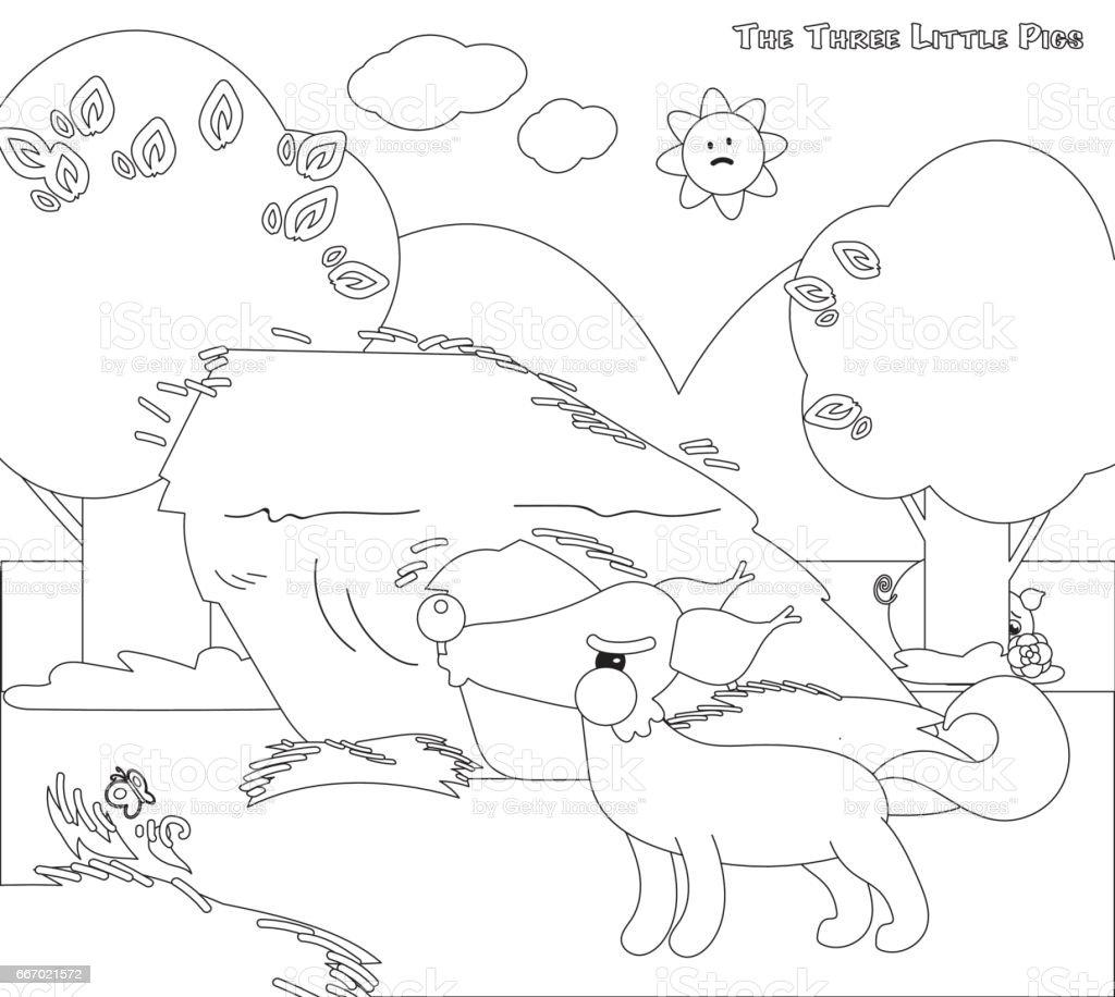 Vetores De Colorir Os Tres Porquinhos 4 O Grande Lobo Mau E Mais
