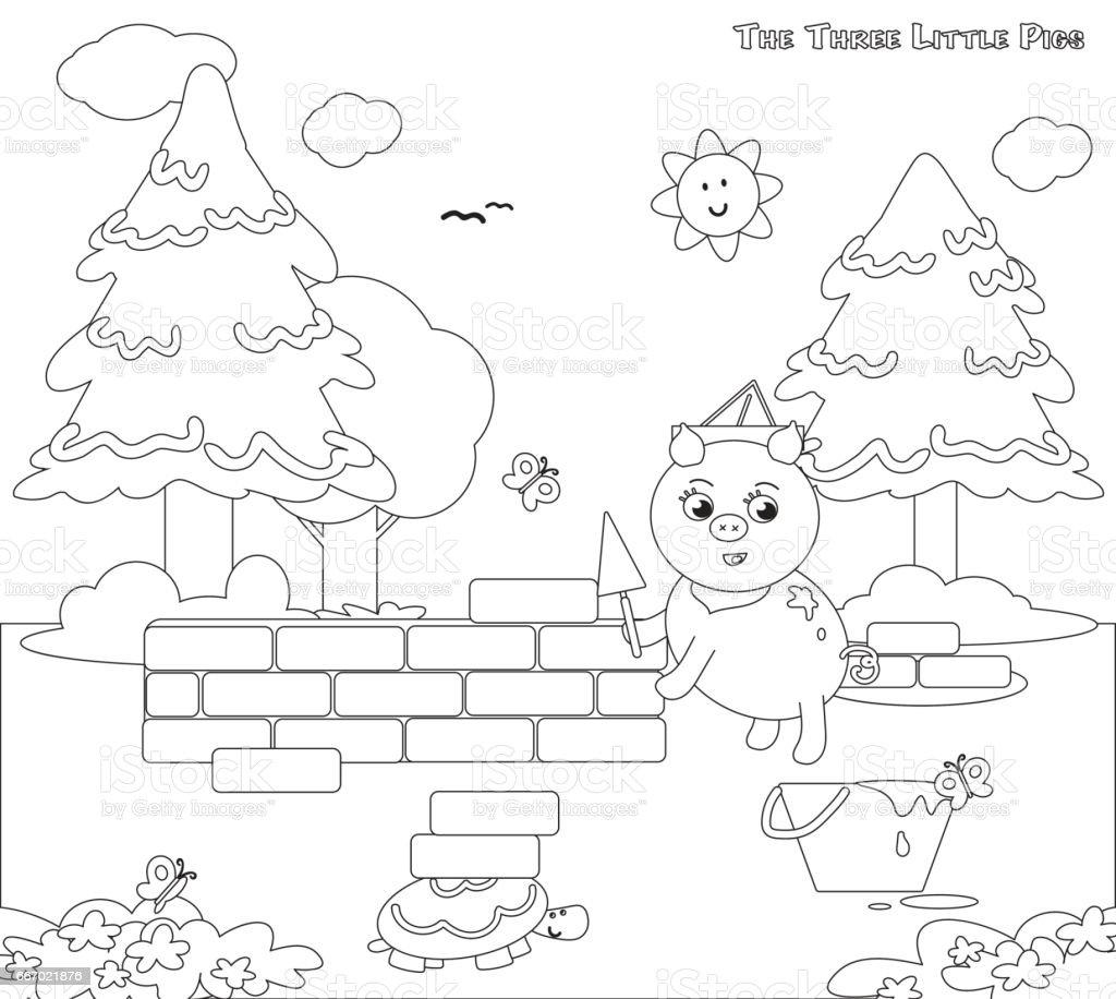 Ilustración de Colorear Tres Cerditos 7 La Casa De Ladrillos y más ...