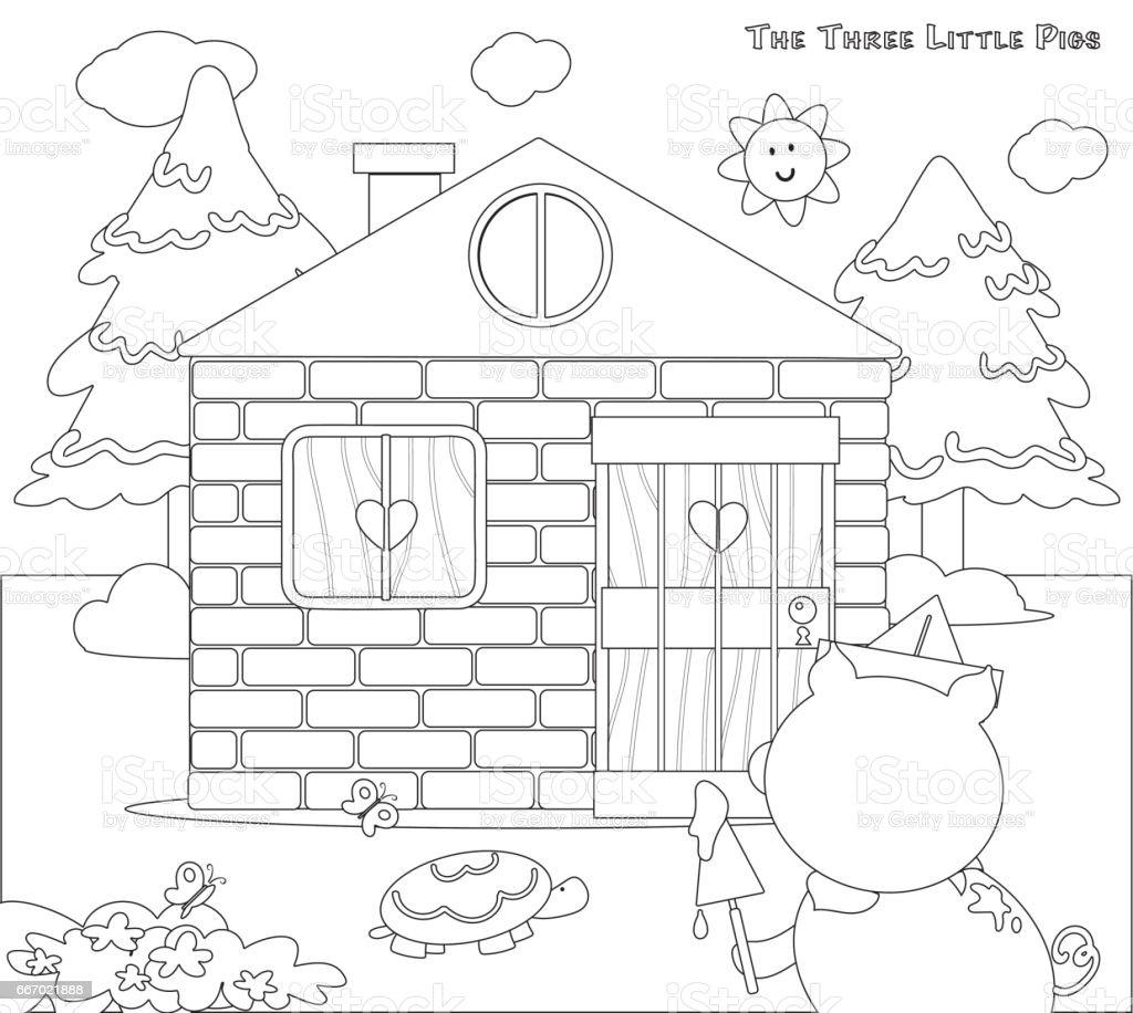 üç Küçük Domuz 8 Boyama Tuğla Ev Bitmiş Stok Vektör Sanatı
