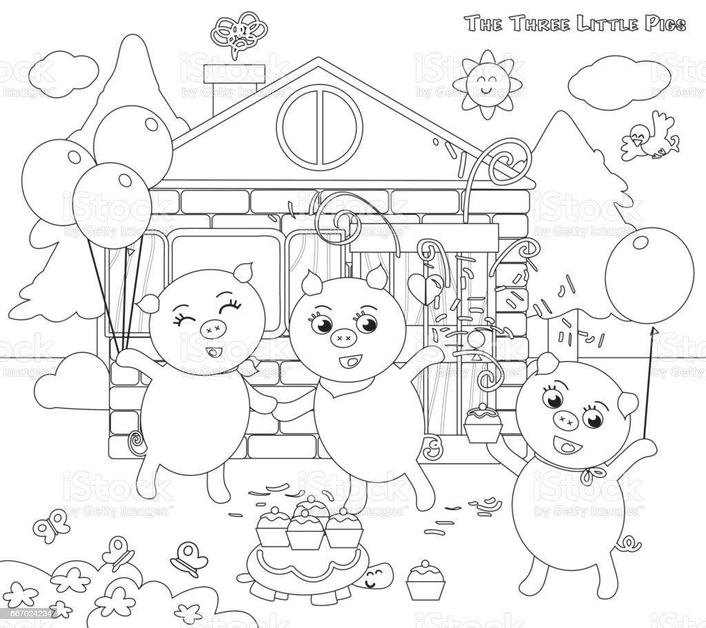 Coloriage Les Trois Petits Cochons Folktale Fin Heureuse Vecteurs