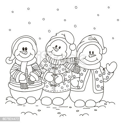 Coloring Three Snowman Stock Vector Art & More Images of