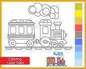 Tren Seti üç Vagon Ve Lokomotif Komik Vektör çizim Stok Vektör