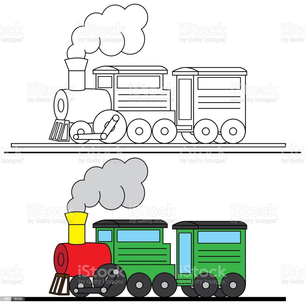Ilustración de Ilustración De Tren Para Colorear y más banco de ...