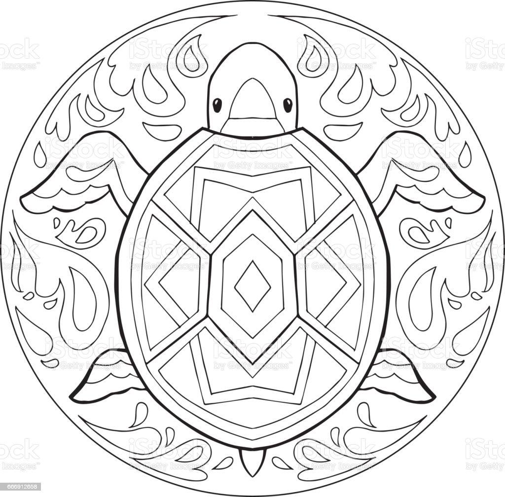 Boyama Kaplumbağa Mandala Vektör Stok Vektör Sanatı Dalganin Daha