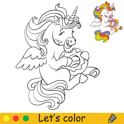 Coloring vector cute little unicorn eating a doughnut