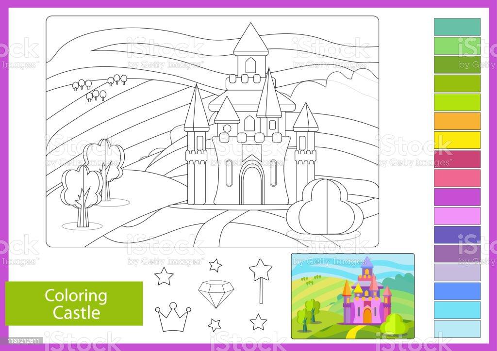 Ilustración De Colorear Con Paisaje De Dibujos Animados Y Castillo