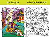 Vector coloring pages and colored example children in costumes of ghost and frankenstein patted the dog. Cartoon Halloween illustration.Coloring book for children, preschool education, print and game.