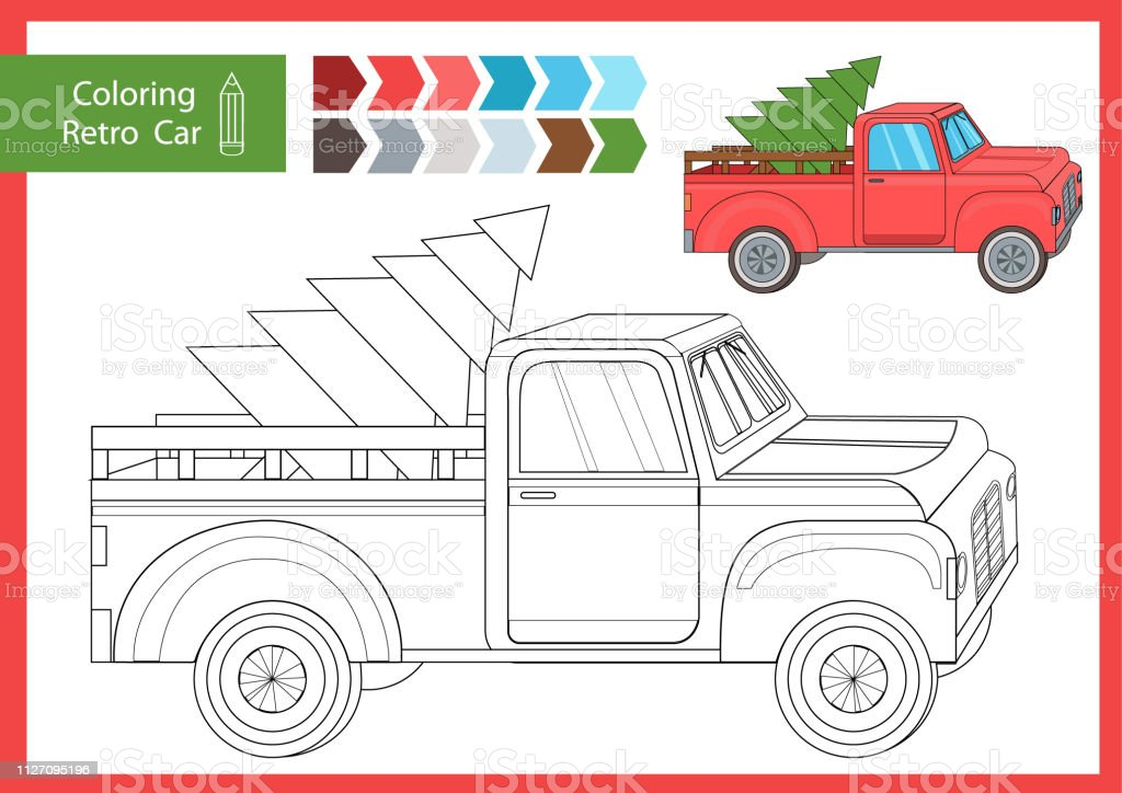 Coloring With Drawn A Christmas Car Drawing Worksheets For
