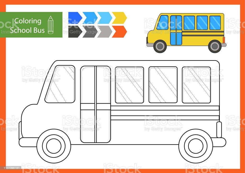 Ilustracion De Colorear Con Dibujado Un Autobus Escolar Hojas De