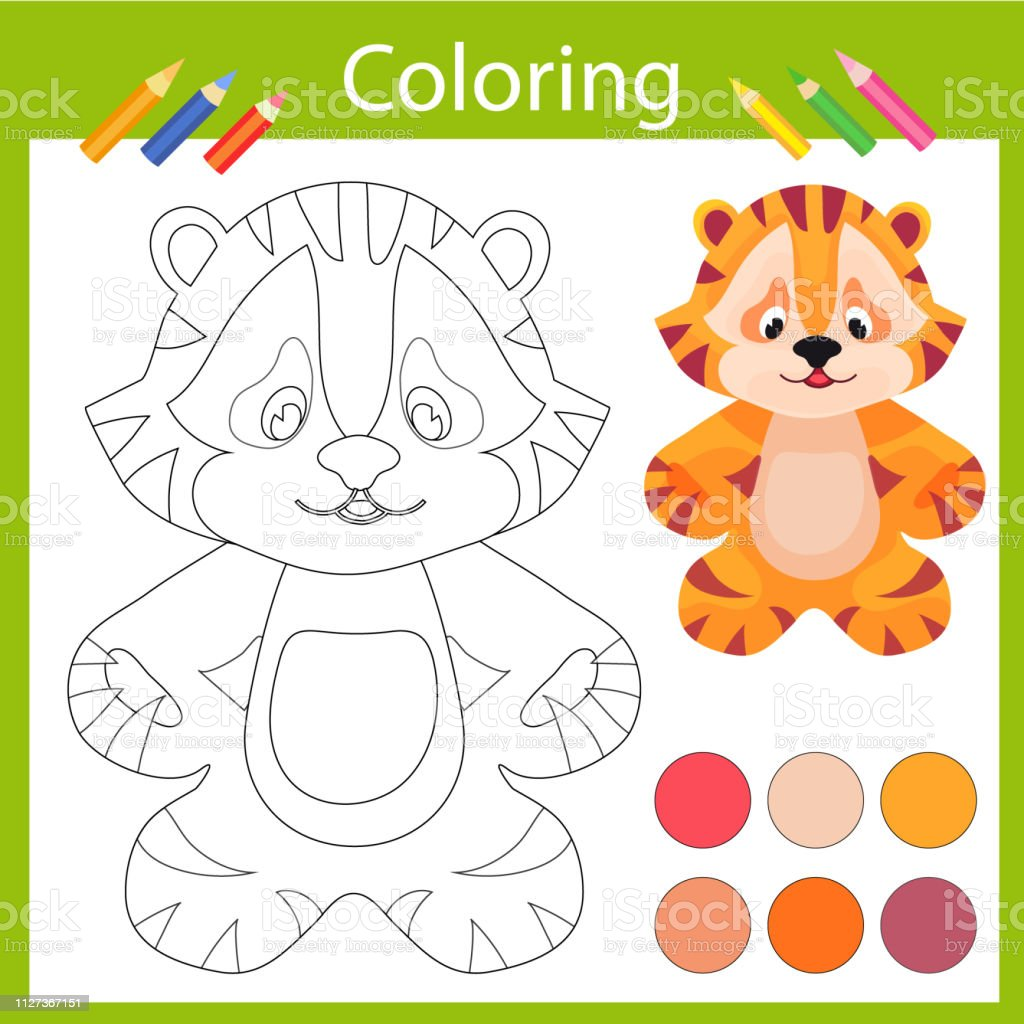 Coloring With Funny Cartoon Tiger Childrens Arts Game Entertainment
