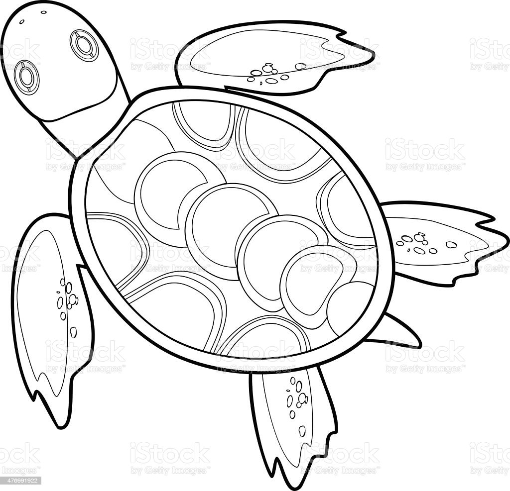 coloring with sea turtle stock vector art 476991922 istock