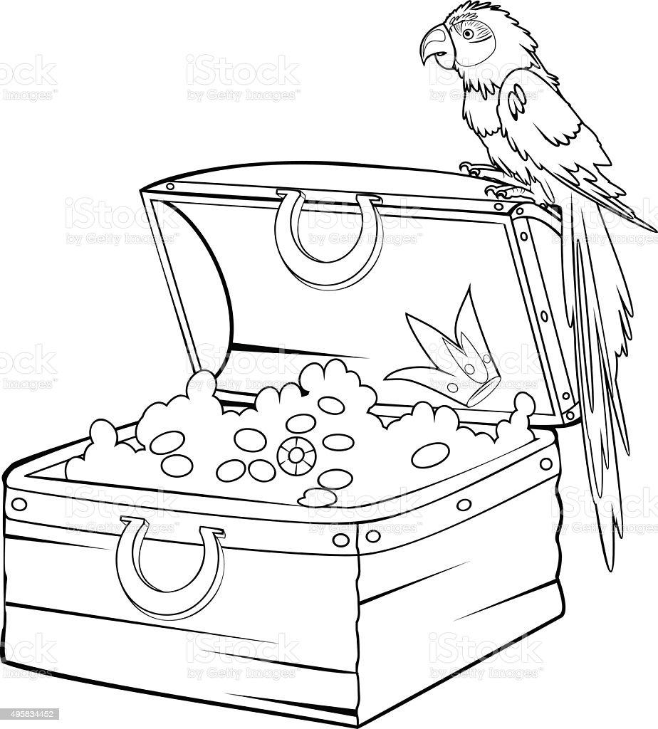 ilustração de colorir com tesouro e arara papagaio e mais banco de