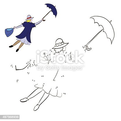 istock Coloring woman flying with an umbrella 497968936