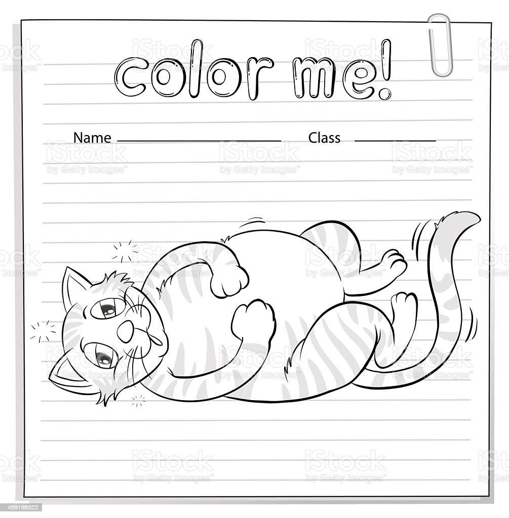 Ilustración de Hoja De Trabajo Para Colorear Con Un Gato y más banco ...