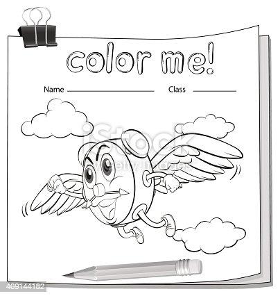 Ilustración de Hoja De Trabajo Para Colorear Con Un Reloj ...