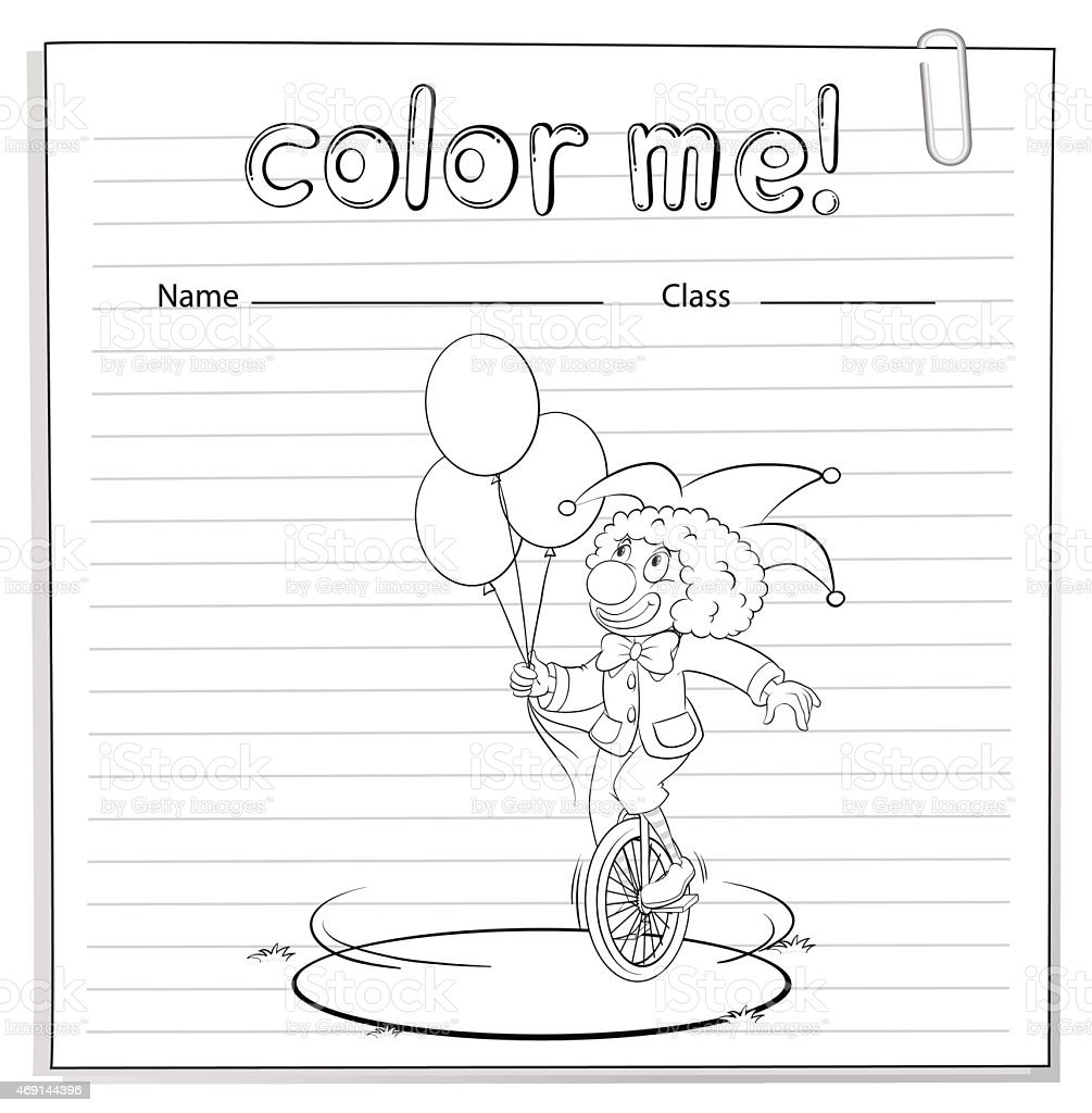 Ilustración de Hoja De Trabajo Para Colorear Con Un Payaso y más ...