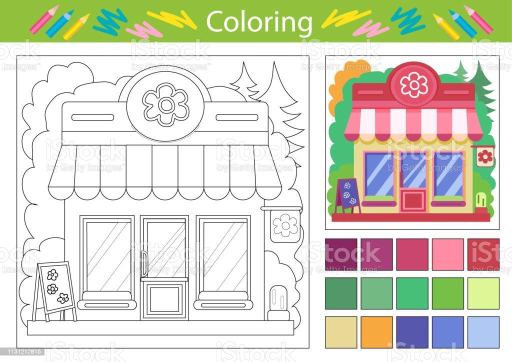 Vetores De Planilhas Para Colorir Com A Loja De Flores Dos