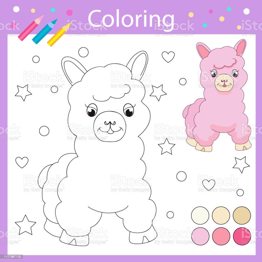 Ilustración De Hojas Para Colorear Con Llama Lindo Dibujado Página