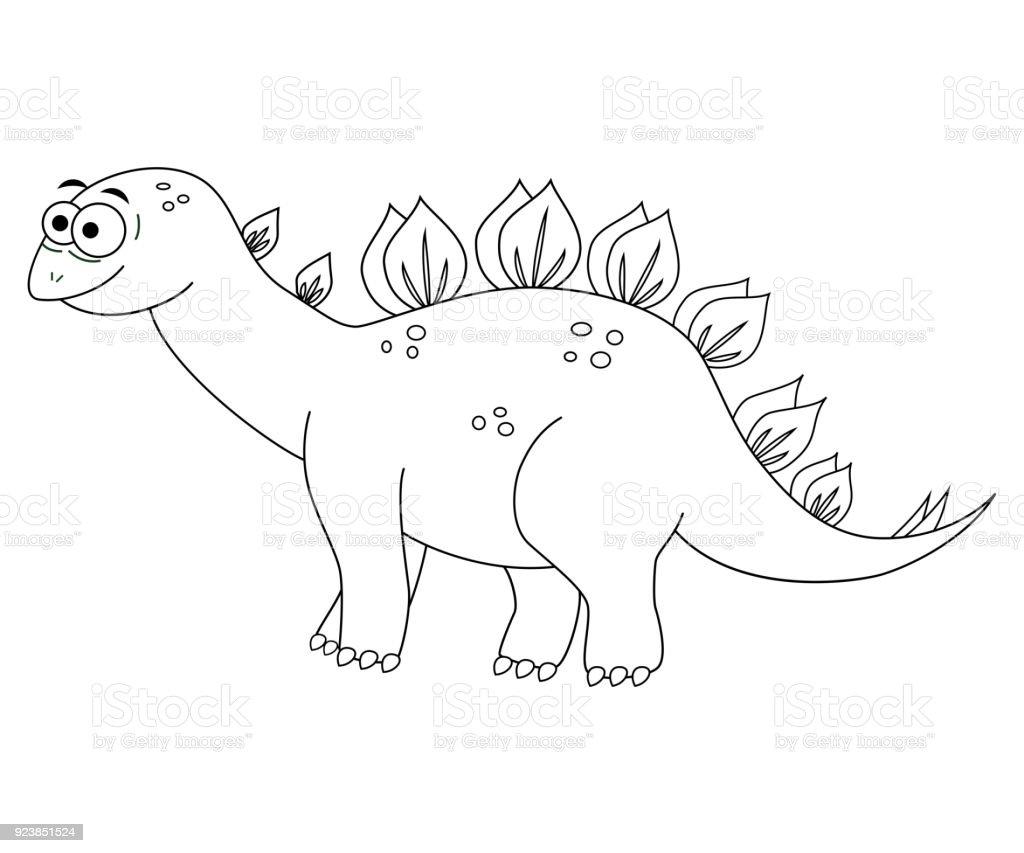 Colorles Rolig Tecknad Stegosaurus Vektorillustration Färgläg