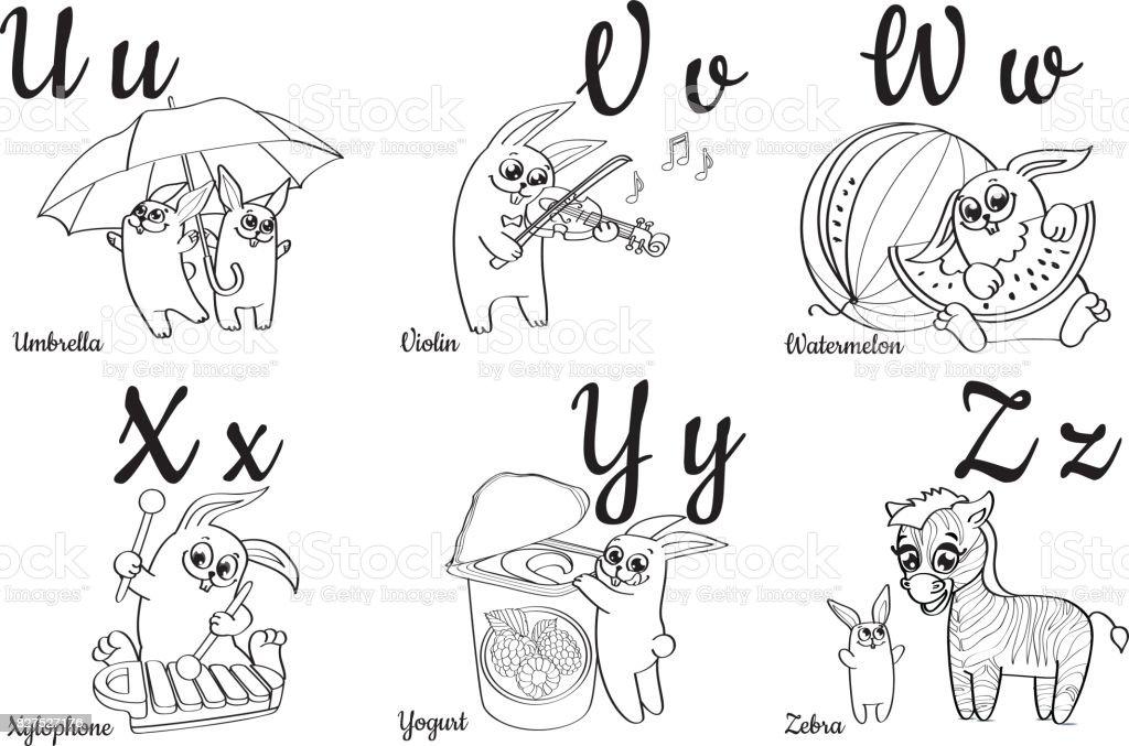 Ilustración de Letras Del Alfabeto Incoloro Para Niños Libro Para ...
