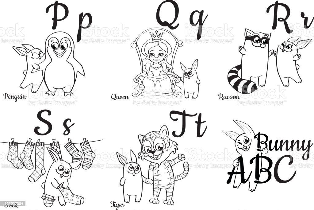Letras Del Alfabeto Incoloro Para Niños Libro Para Colorear - Arte ...