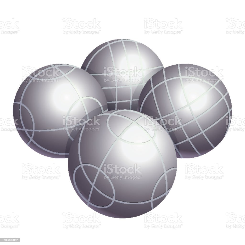 Colorless bocce balls made of metal or plastic vector vector art illustration