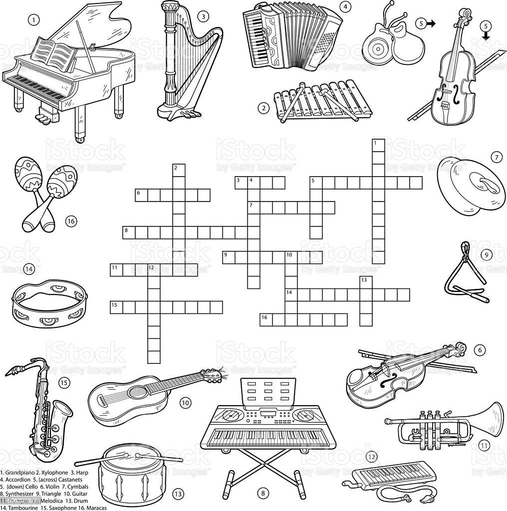 Farblos Kreuzworträtsel über Musik Instrumente Stock Vektor Art Und