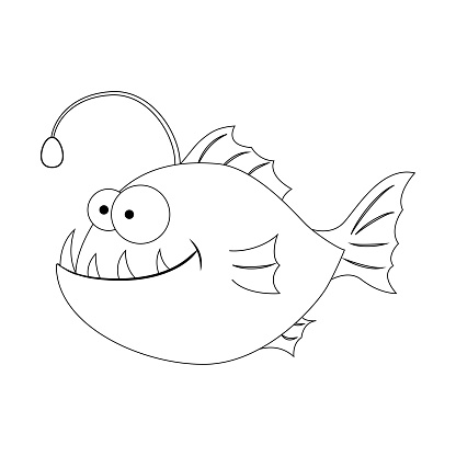 Colorless Funny Cartoon Anglerfish Cartoon Fish Vector Illus Stock